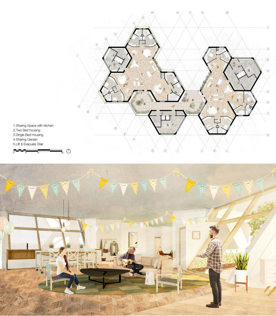 A plan of the proposed scheme, where hexagons combine to form inside and outside spaces.  A 3D internal view shows the activity within one of the houses, highlighting the slanting windows and obscure shapes.