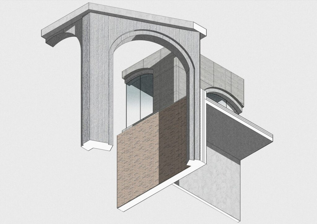 An axonometric section showing how concrete finishes are used in different ways.