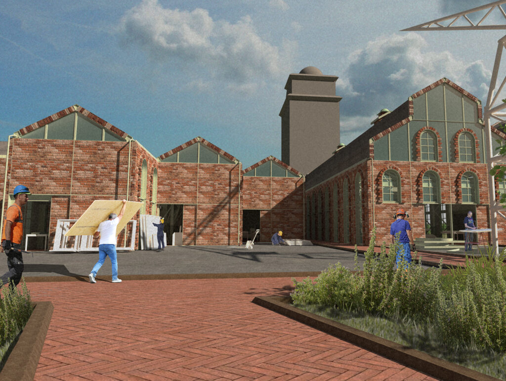 An Exterior Perspective showing people working on site and the stone workshop in the back.