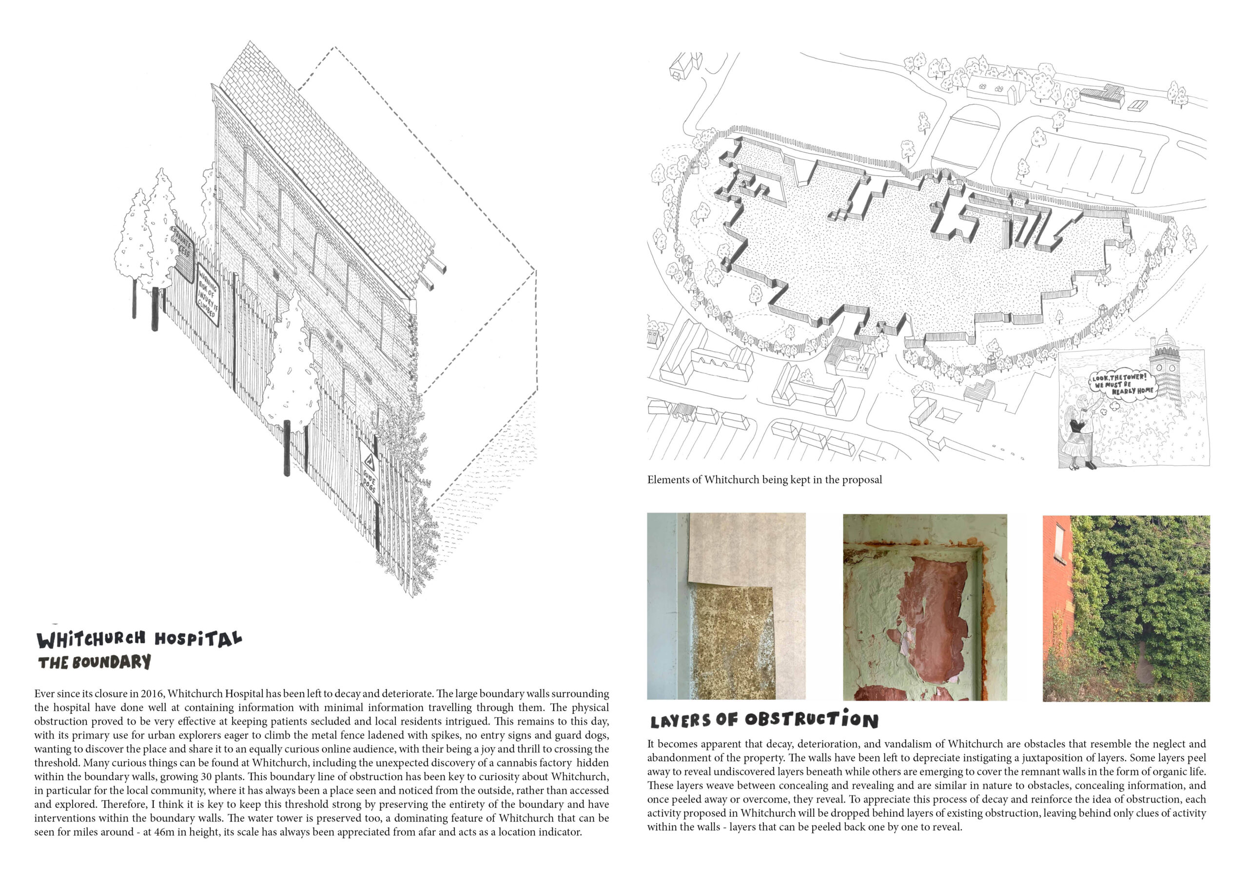 Portfolio Page of the Boundary Wall and Decay of the interior, layers oscillating between concealing and revealing forms.