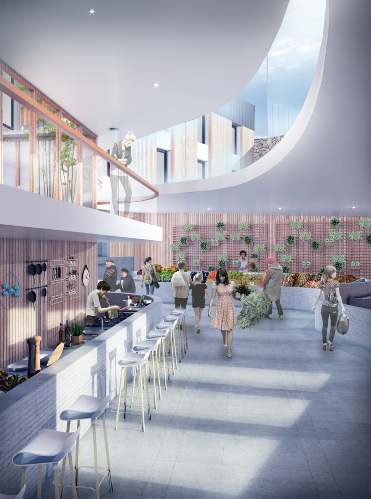 Render of the fresh market on the first floor.
