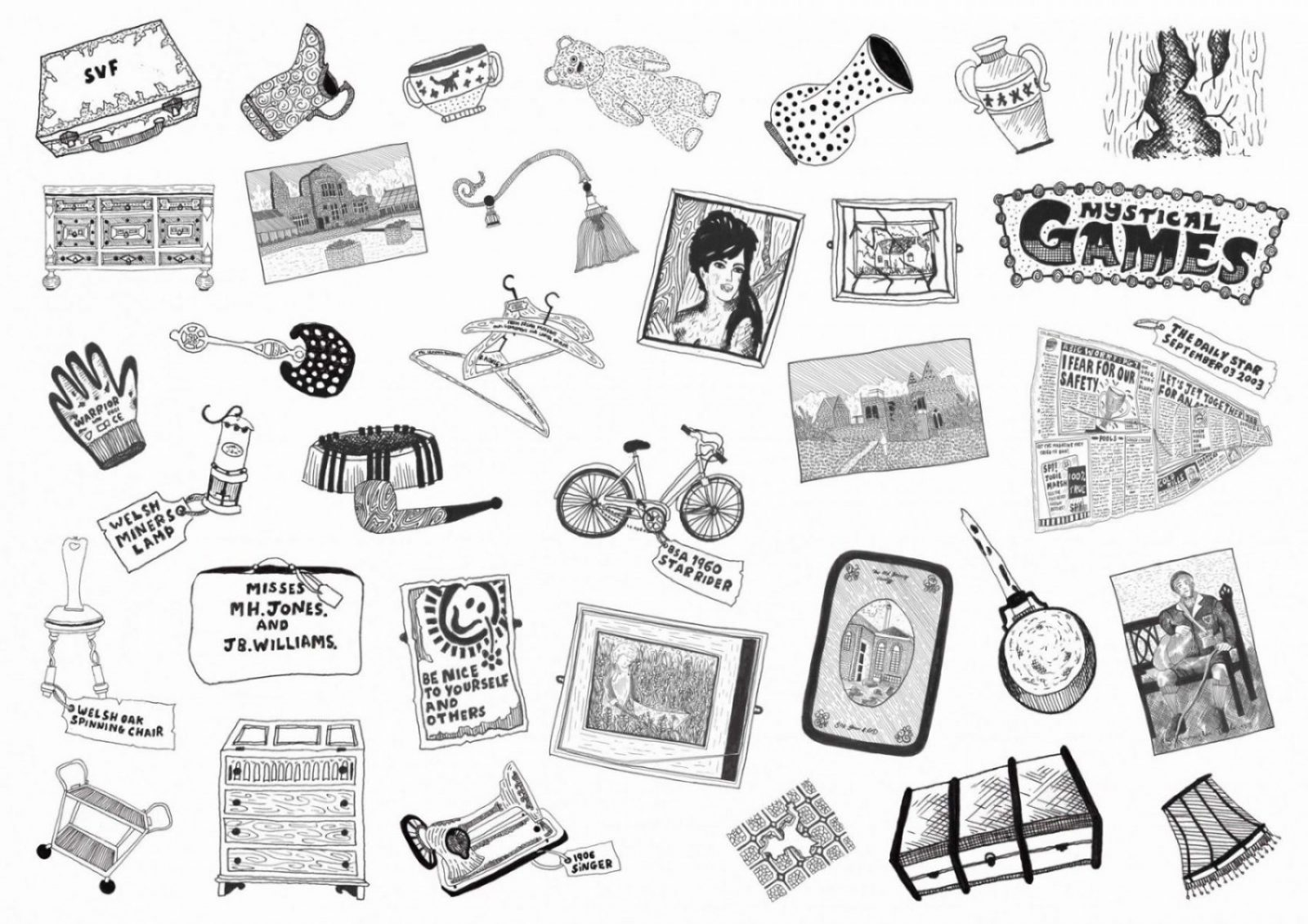 An image of an assortment of objects that can be found in and around Whitchurch; examples of things to be investigated and sold in the on site laboratory and shop.
