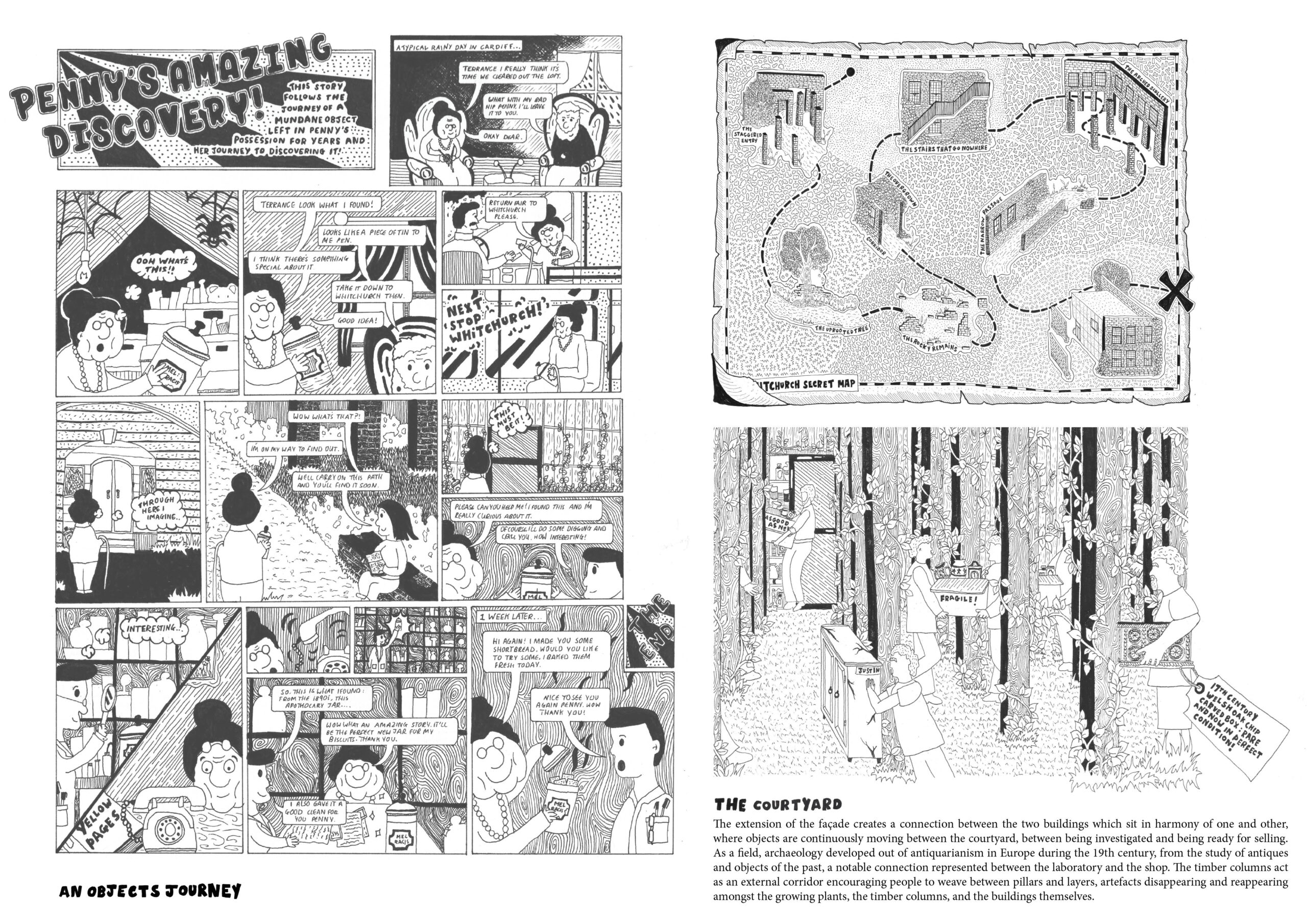 Portfolio Page with a comic of an objects journey to Whitchurch and a perspective drawing of the courtyard space.