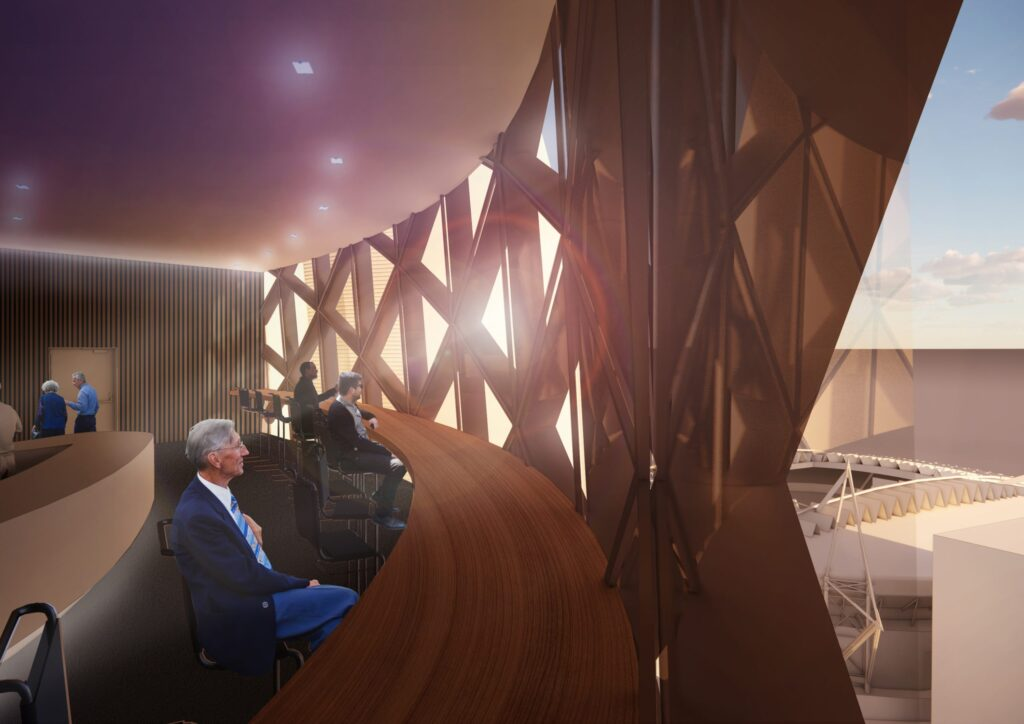 A visualisation of the restaurant bar on the 20th Floor with breathtaking views towards the city centre.