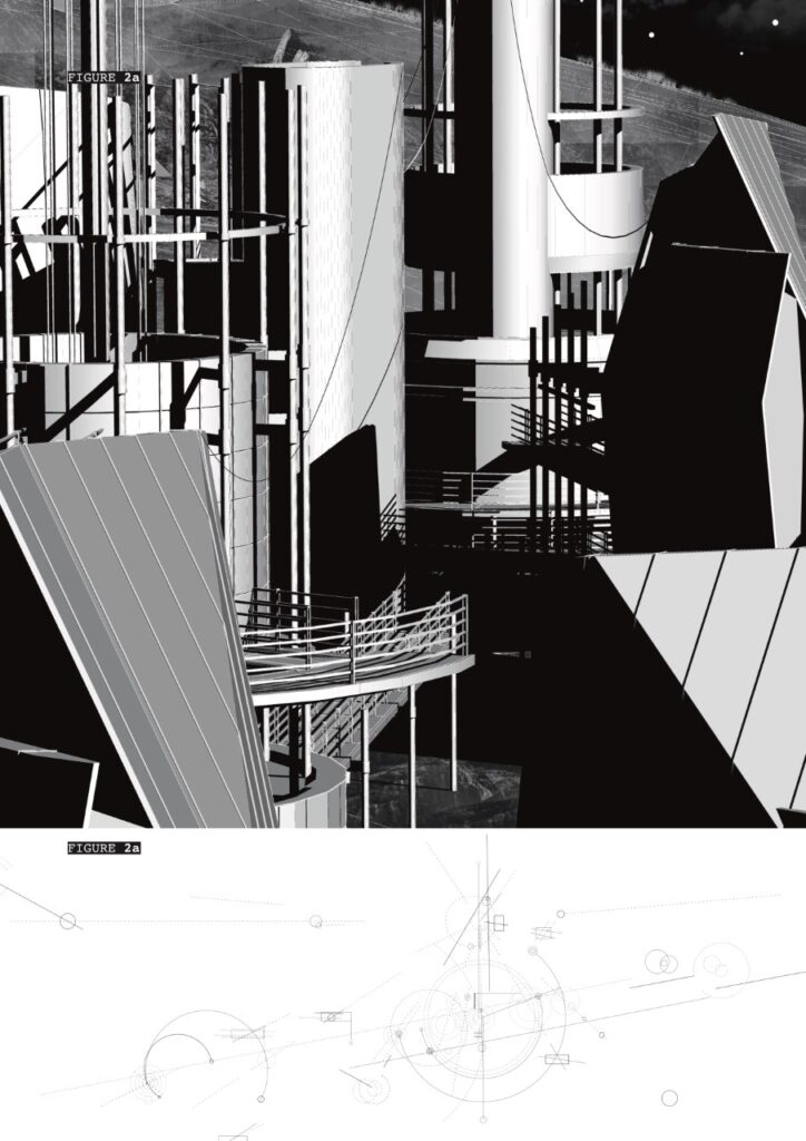 A 3D view and plan highlighting the form, craft, composition and materiality of the station.