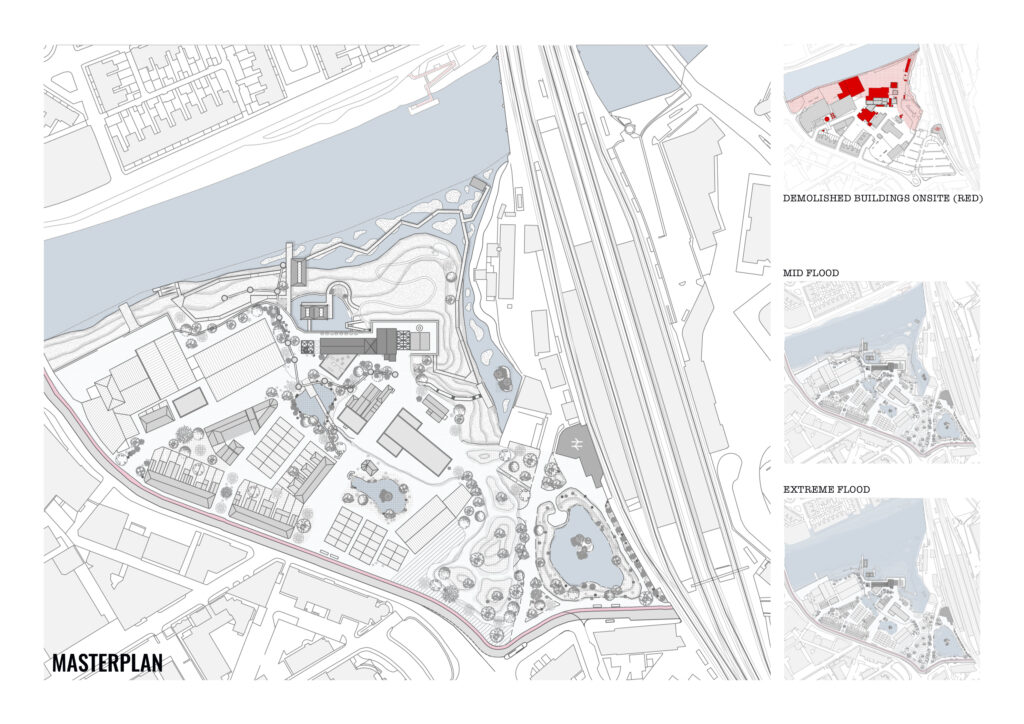 Masterplan of the project within the Butetown area of Cardiff. This masterplan occurs next to the River Taff and illustrates which building will be demolished and how flooding will affect the site.