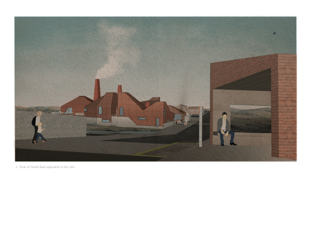 As people approach the site they see the chimneys -representing the productive community