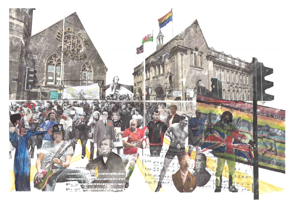 Image of a collage to show the theatrical nature of Pontypridd