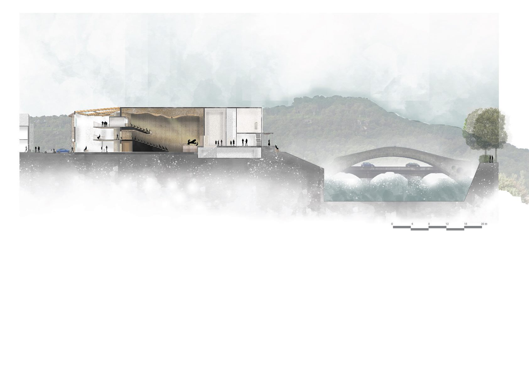 Image of a section through the theatre within the wider context by Chapaya Udombunditkul
