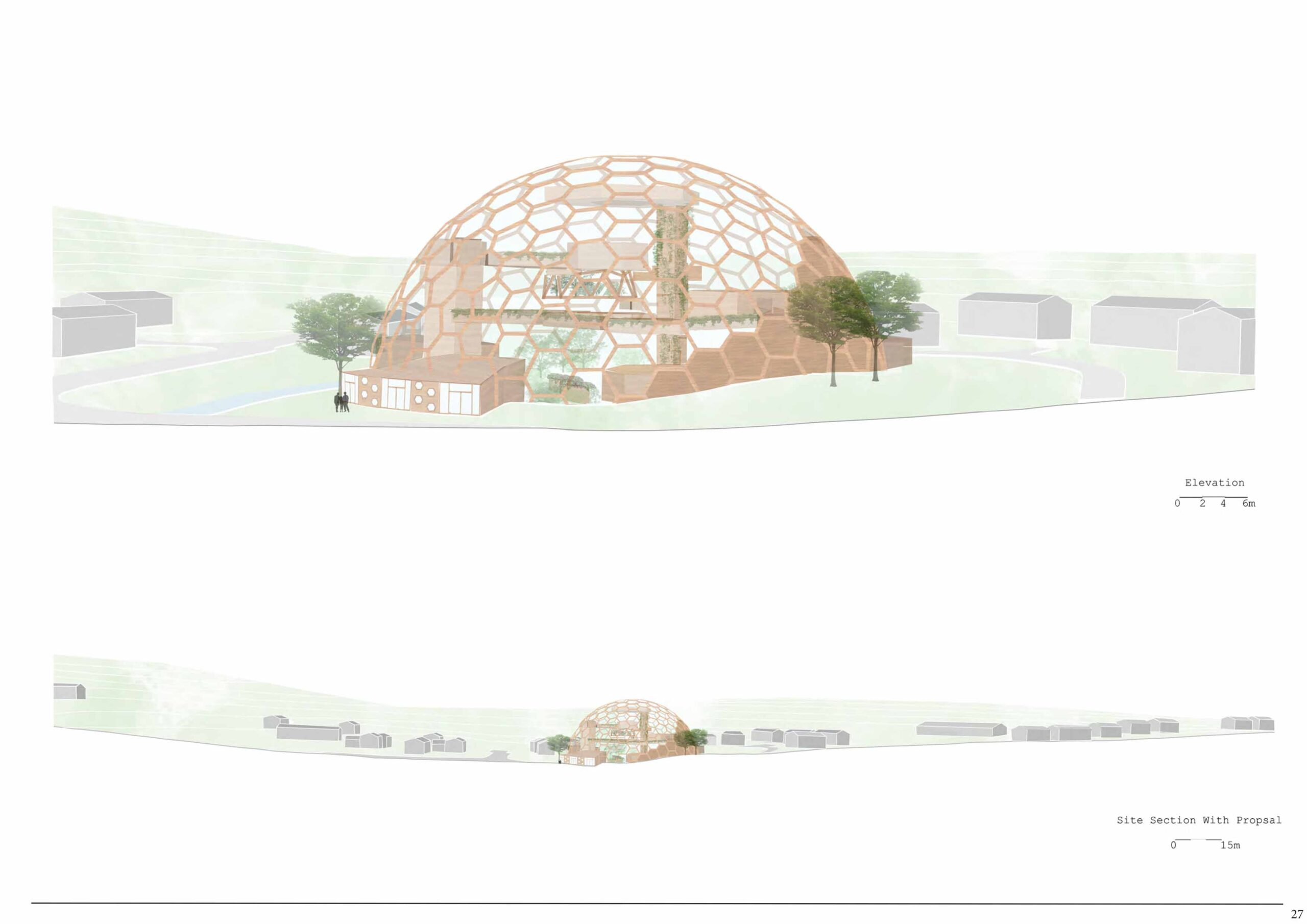 The design responds to the landscape and the natural curvature of the site. The dome creates transformative architecture that is at the edge of what is possible in terms of structure and function.