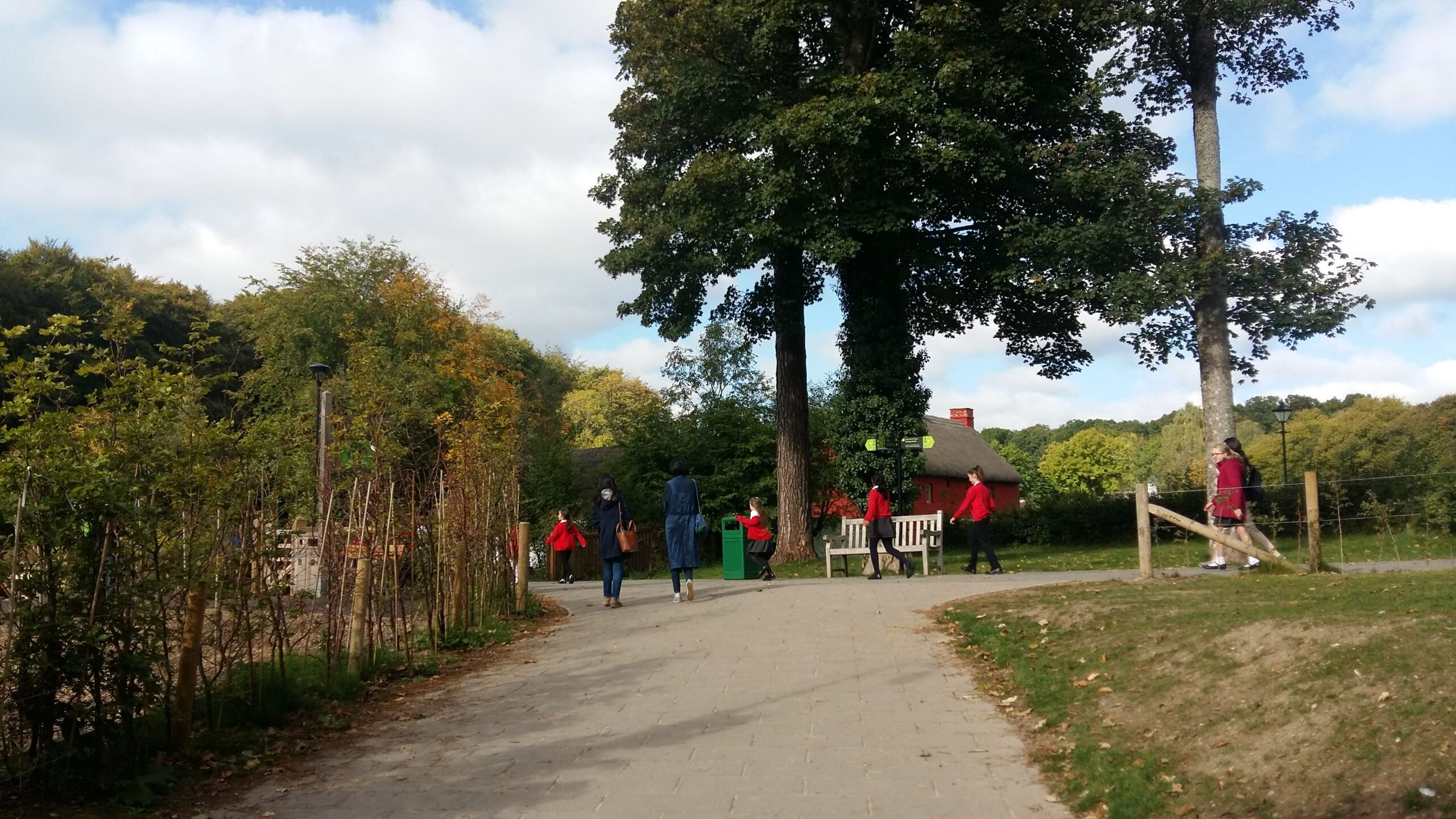 Students walking at the outdoor trails of the St Fagans National Museum