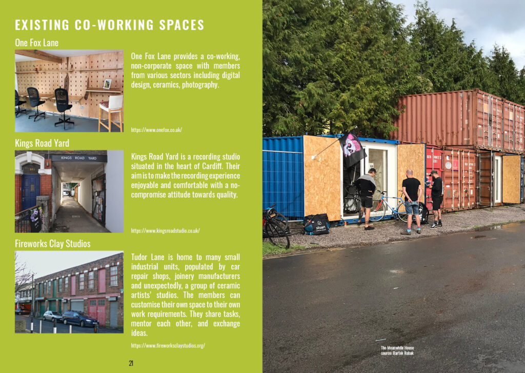 2 page spread talking about existing co-working spaces in Butetown