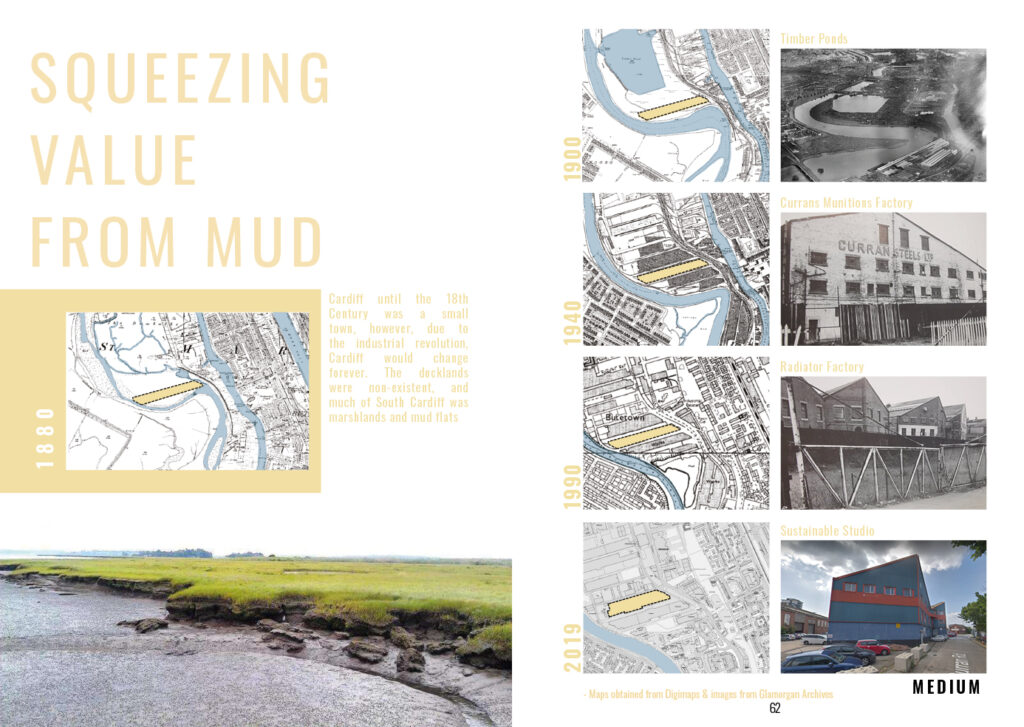 Squeezing Value from Mud Set of maps and historical images showing the development of Butetown from 1880 to today.