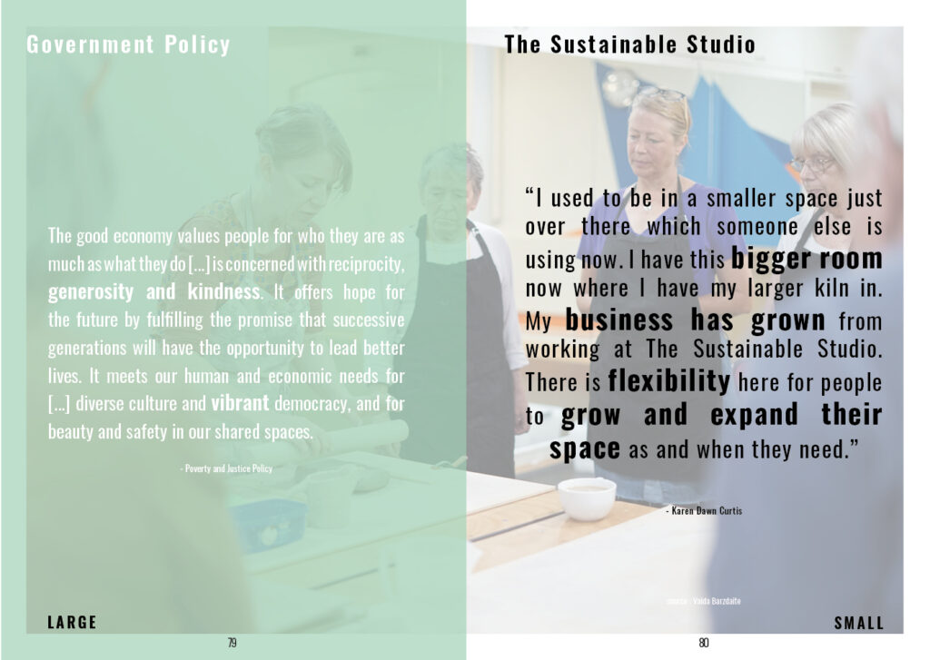 Page juxtaposing policy and sustainable studio practices. Highlighting that the TSS (the sustainable studios) are embodying governmental policies.