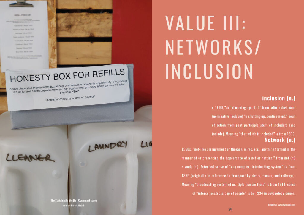 Value 3: Networks / Inclusion Followed by the etymology of the words inclusion and networks