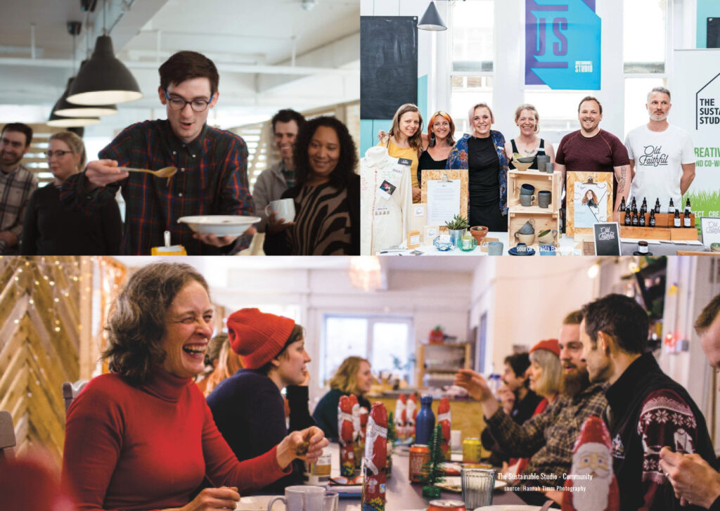 Photos of community congregating in the kitchen space of the TSS