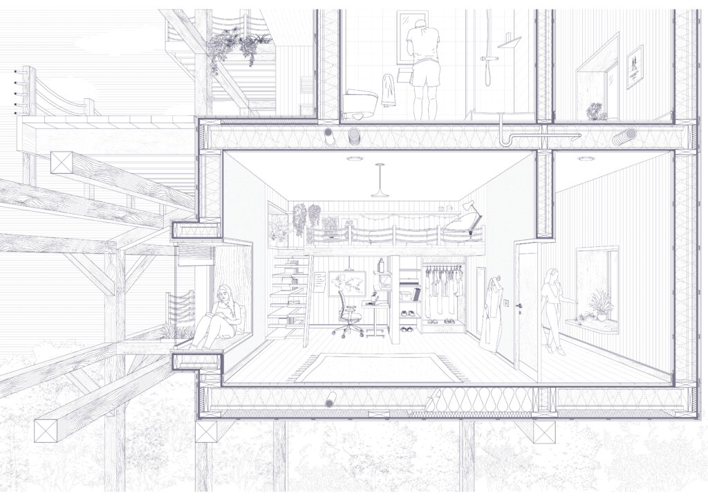 Section through a private living space.