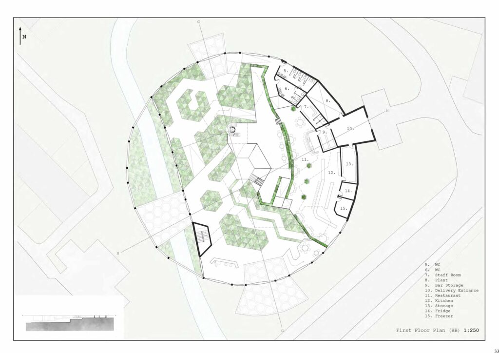 The floor plans are designed using a hexagonal grid and are designed so that the activities and the growing spaces within have a strong connection. The food grown within the dome supplies the restaurant with fresh daily produce.