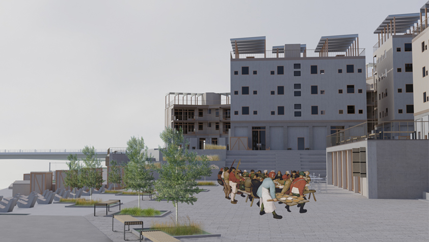 The main piazza is a communal space where people can congregate, enjoy and hold events.