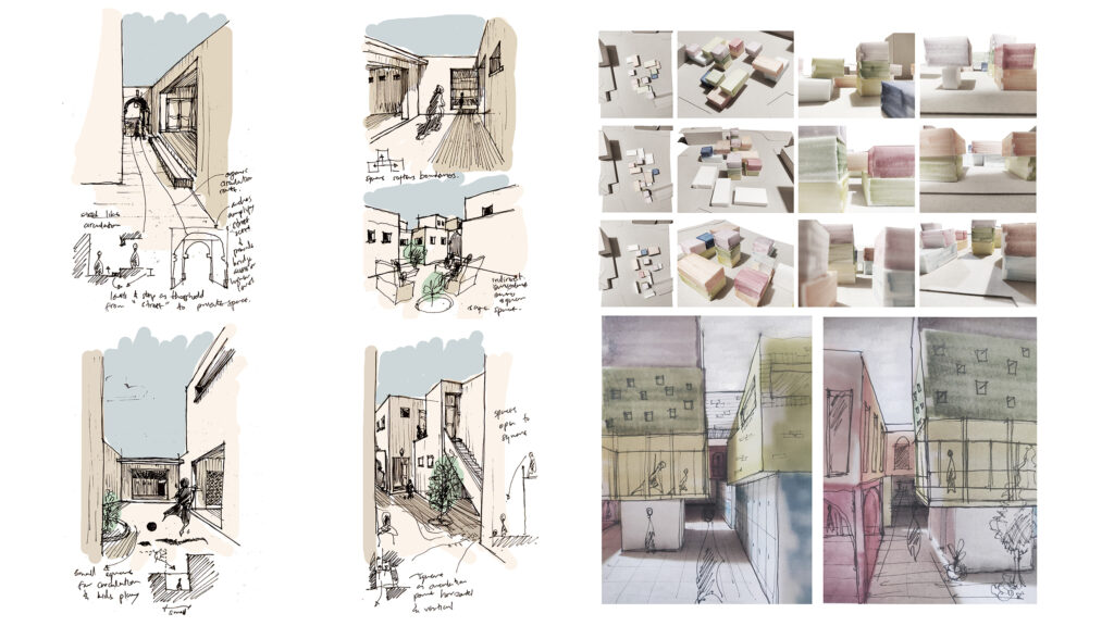 Through precedent study of Urko Sanchez's SOS village - Djibouti, Space relations parallel to street scape is explored