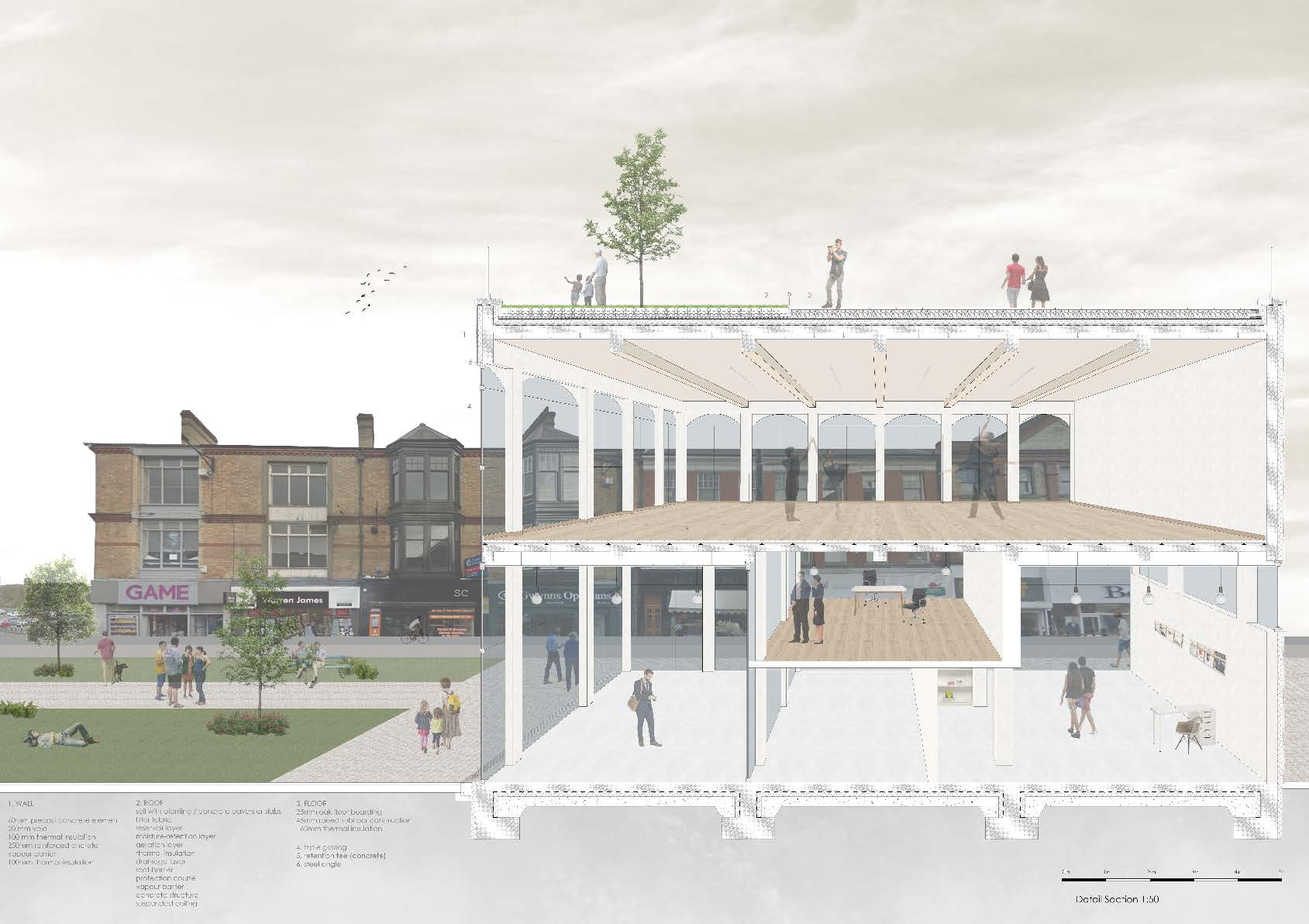 Image of a perspective section in context of Pontypridd by Kalina Vrachanska