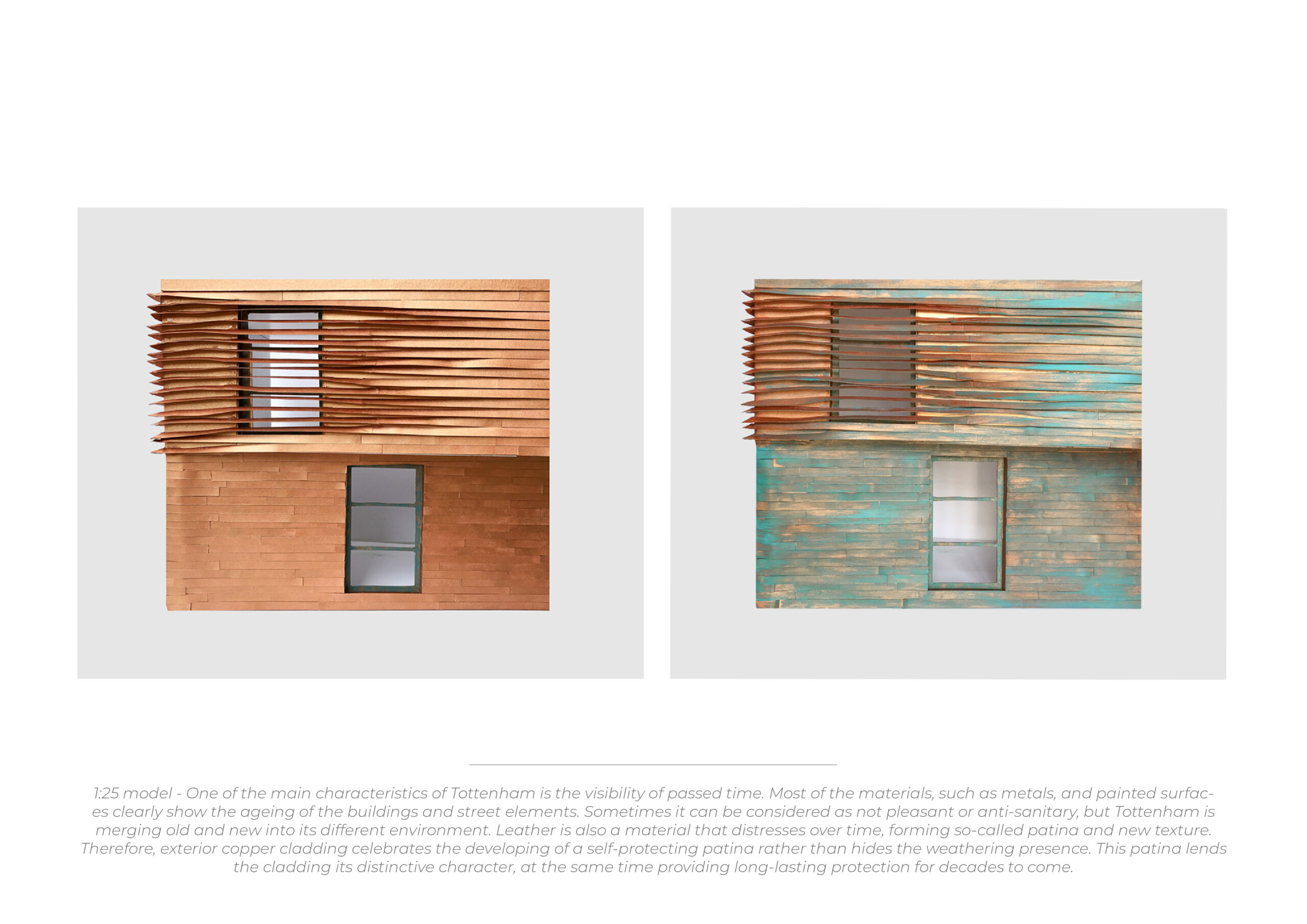 these models how the exterior of the copper building change over time. In one image the copper is brown. In the other it has elements of blue to suggest the ageing copper