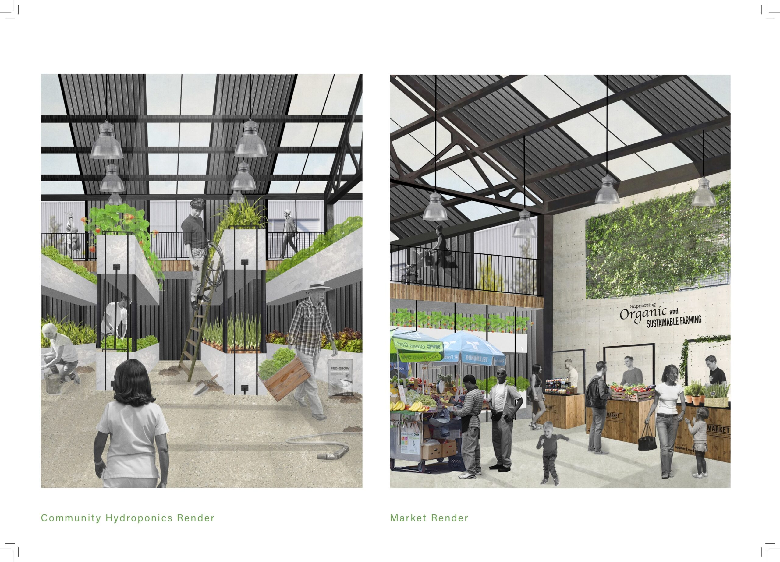 two renders showing the inside of the hydroponics hall and another showing the commercial shop