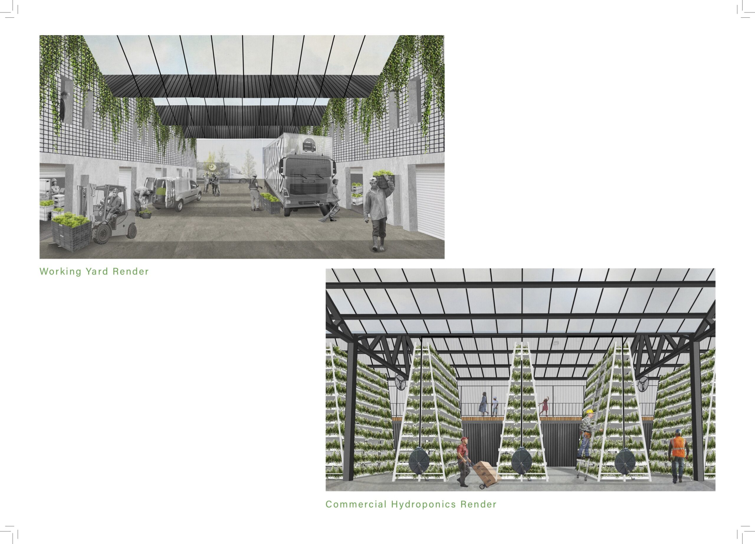 a render illustrating the rooves including the glass panels. The other render shows the vertical hydroponic stalls in the hall.
