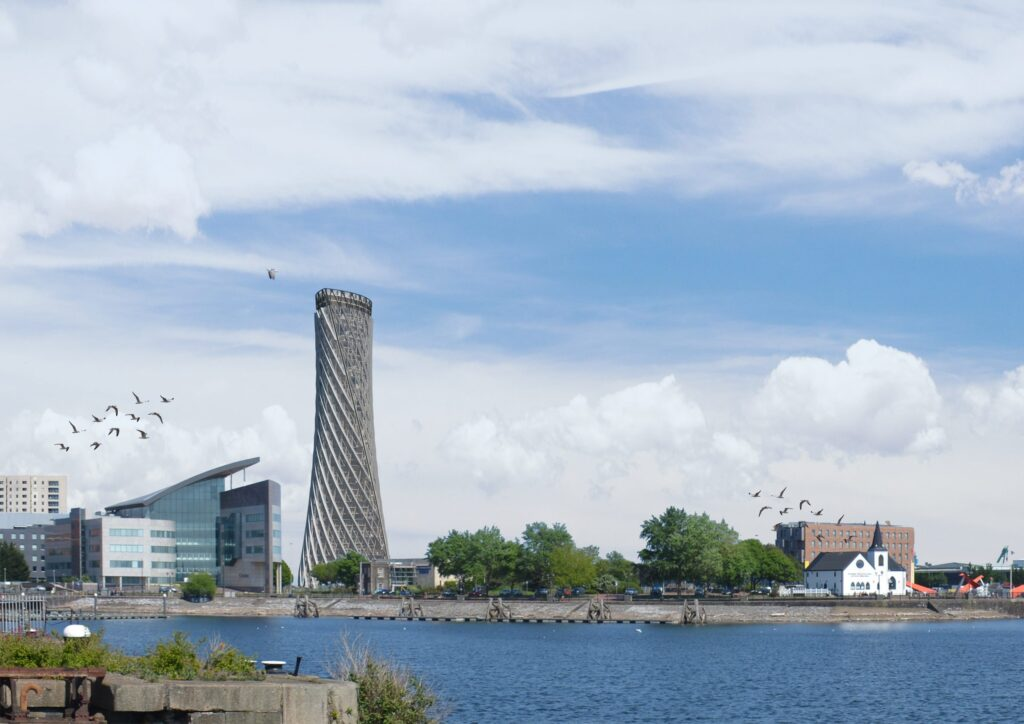 A view of the Porth Teigr Tower from Mermaid Quay across Cardiff Bay.