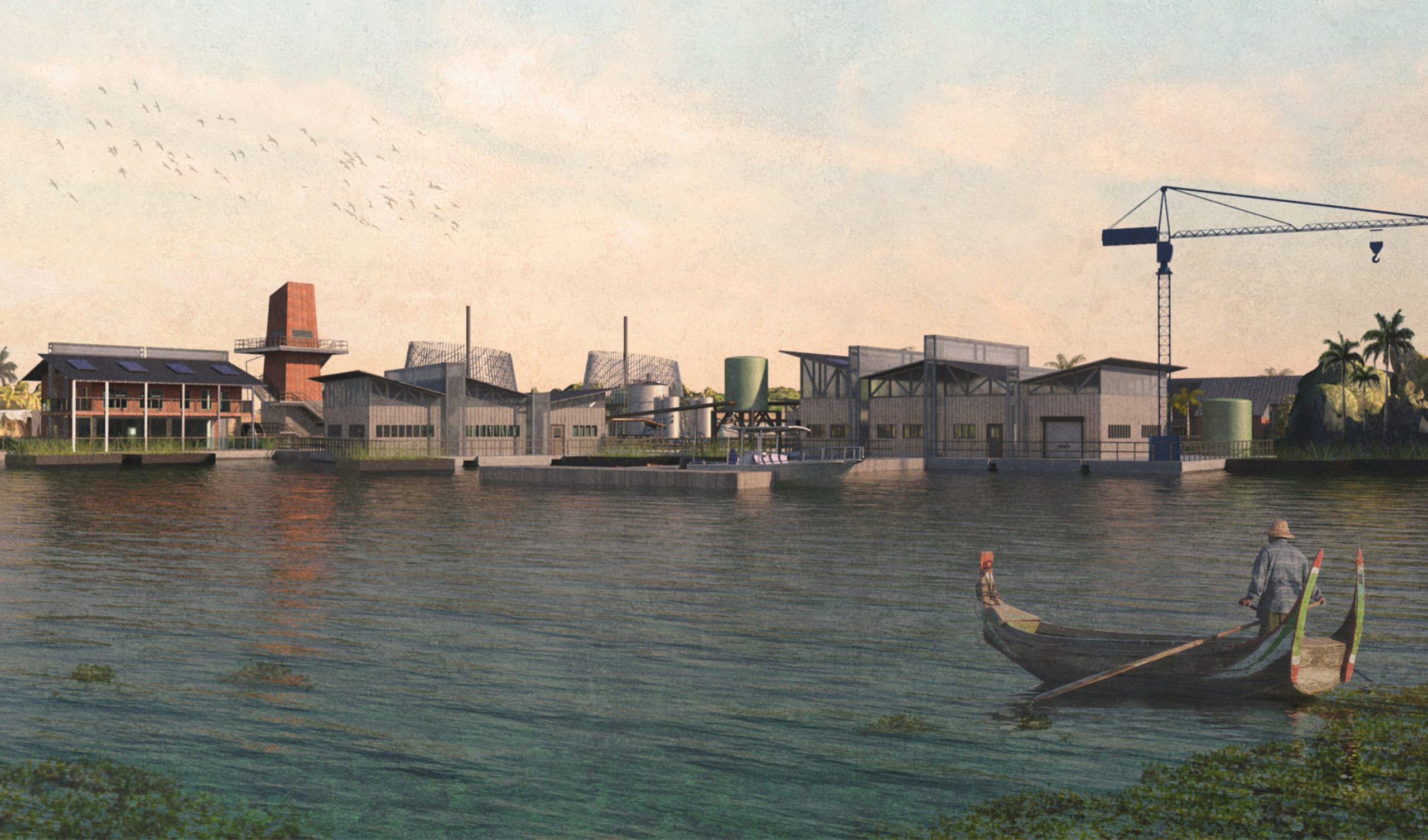 Cover image showing the site from the water