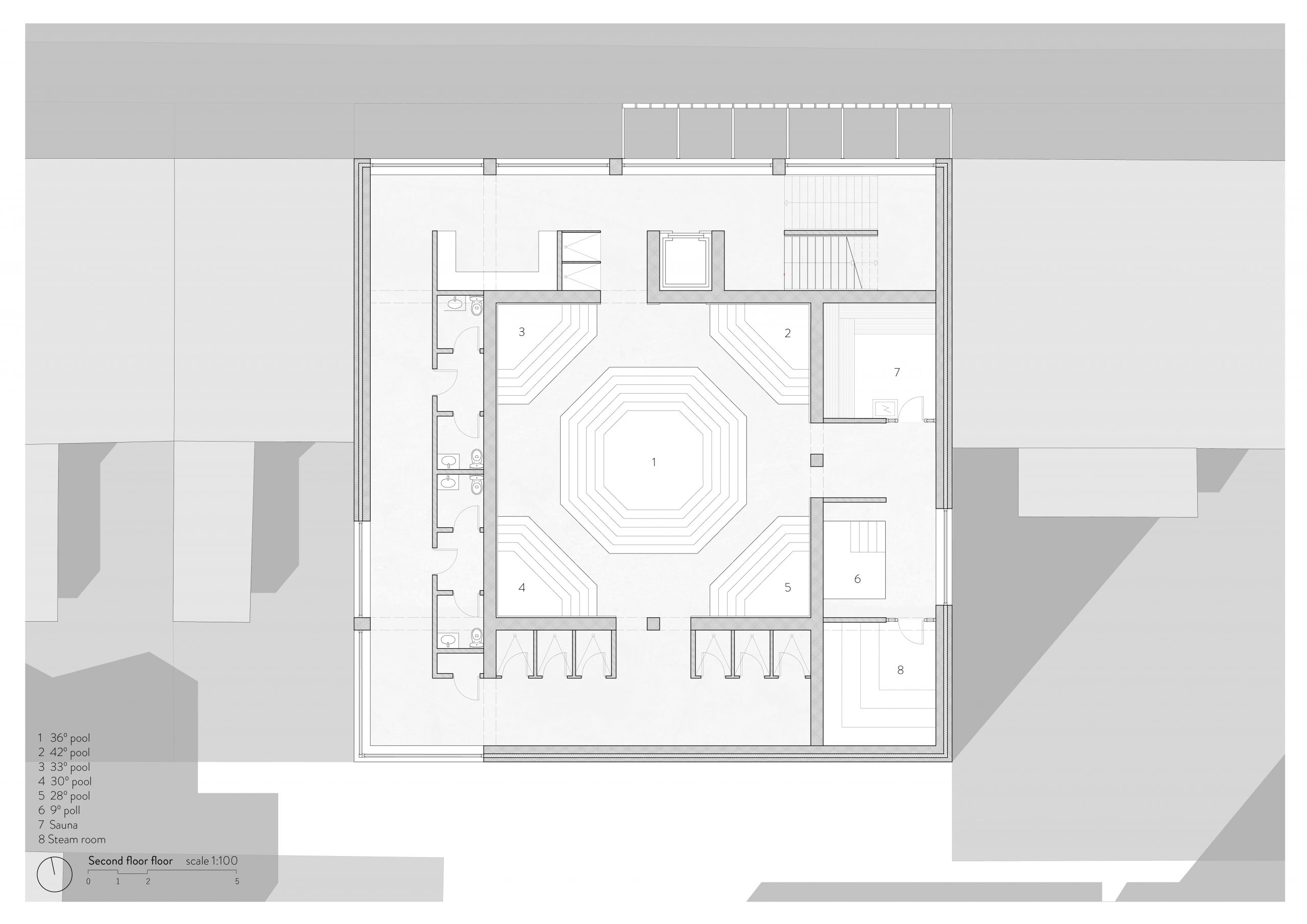 Second Floor Plan with main pool