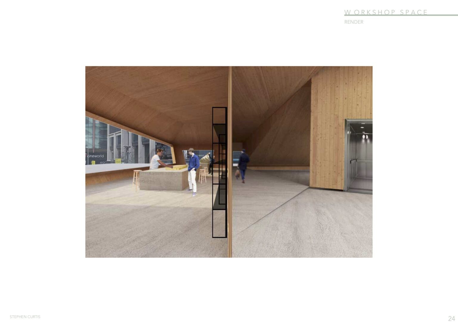 Internal view of the CLT workshop with timber structure by Stephen Curtis