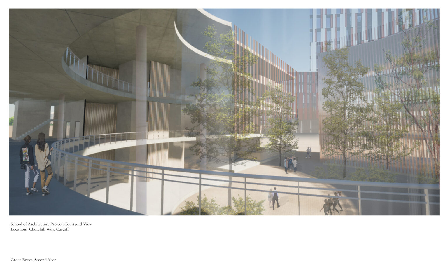 Courtyard View of the scheme proposed by Grace Reeve