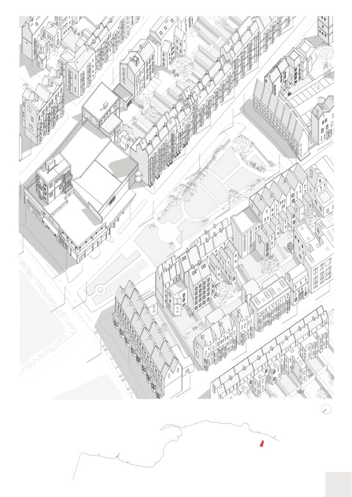 Axo of site showing central open grassy area surrounded by terraced housing and a large commercial block of buildings on the bottom left corner. Image is in monocrome