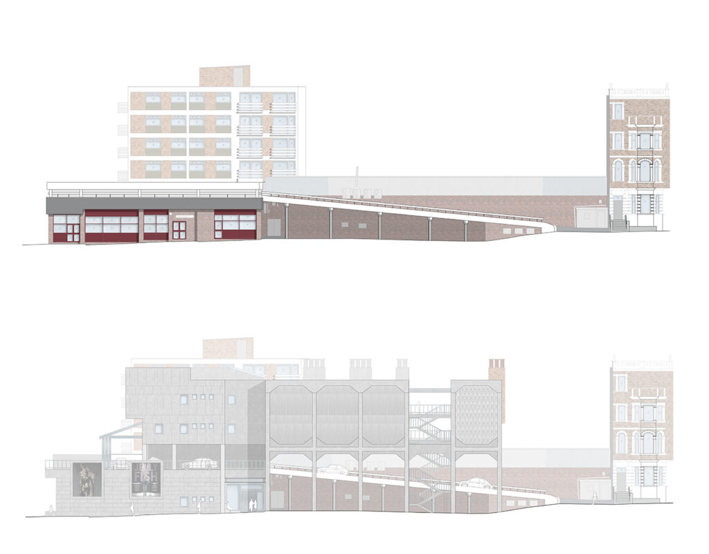 Elevations of Cameo overlooking Dalby Square - Existing and Proposed
