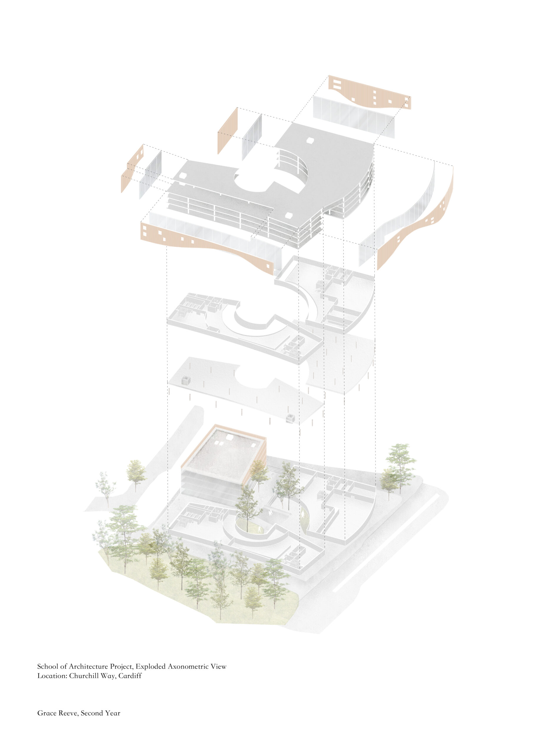 Exploded Axonometric showing building components in Grace Reeve's project
