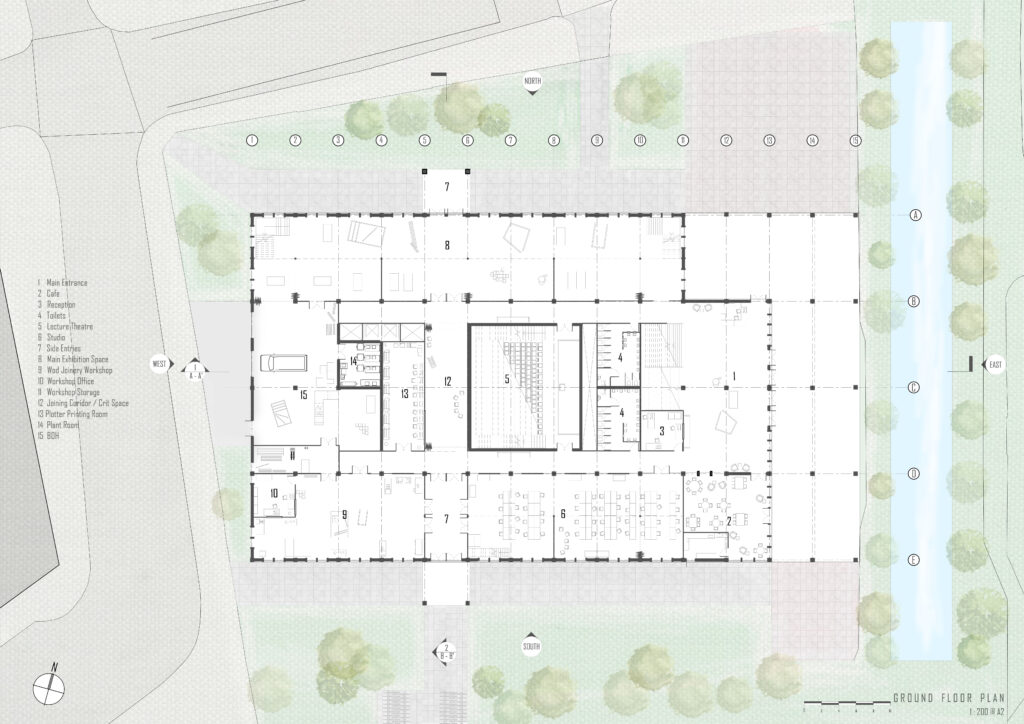 This is the floor place for the ground floor which showcases how the spaces are planned and spaced out around the scheme.