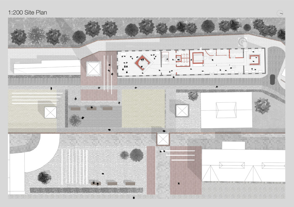 Site plan showing the programme and proposed alterations to the building fabric.