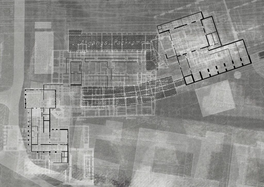 The proposed building plan, with previous designs overlayed as a nod to those before it - the memories that the site has retained.