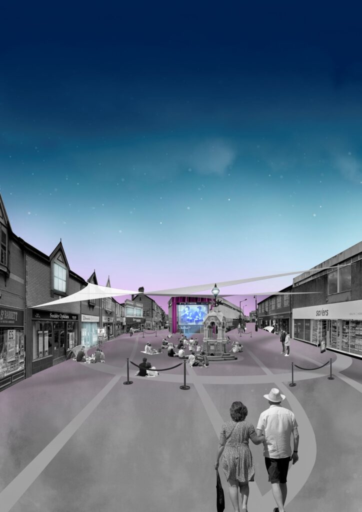 Image of a pop up theatre in the street of Pontypridd in the evening by Julia Garnelo Gutierrez