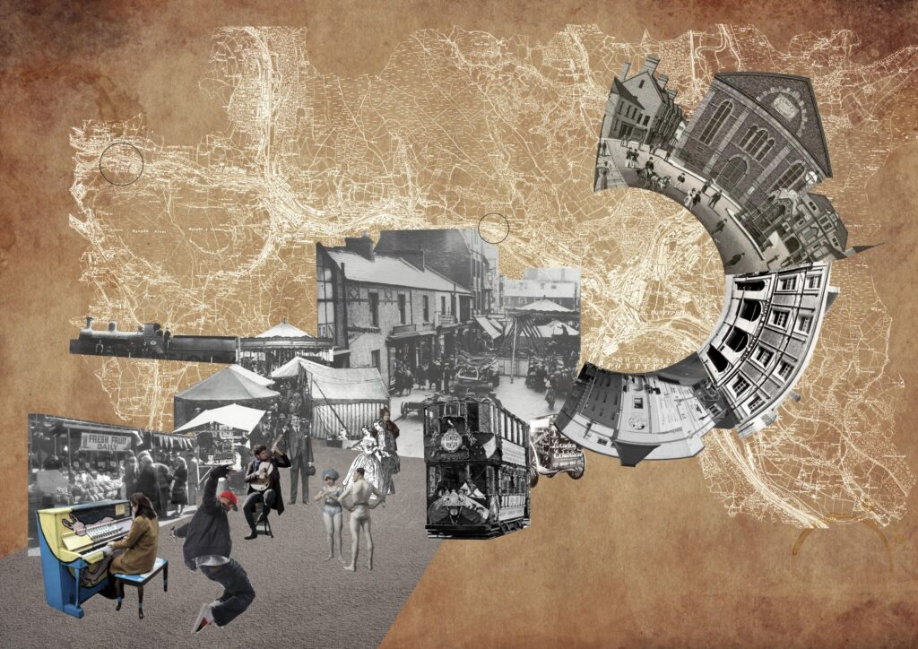 Image of an abstract collage encapsulating the spirit of Pontypridd by Nok Leung