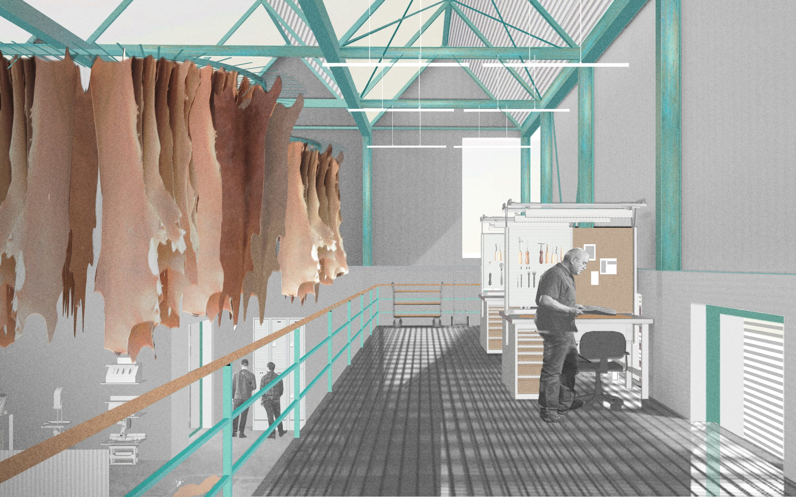 a render illustrating the process of leatherworks inside the manufacturing hall. there is leather hanging to the left of the image  and the structure is emphasised in teal