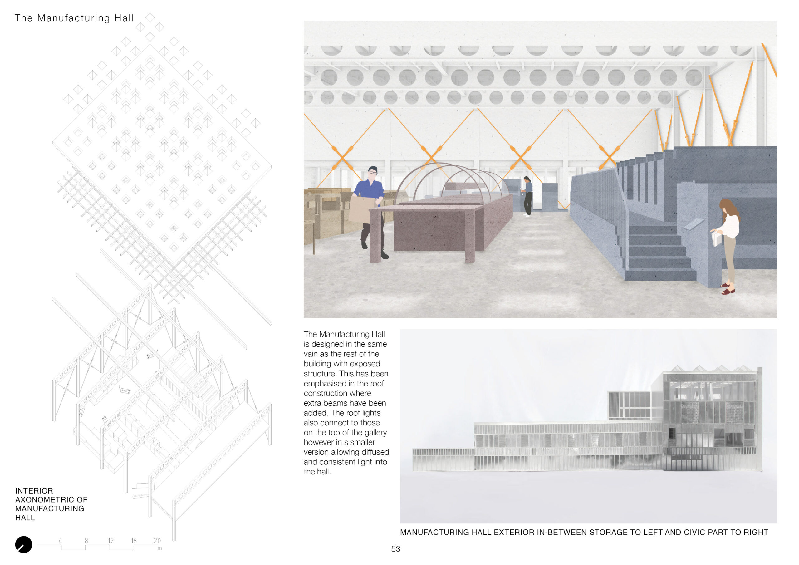 portfolio page 1 has an axonometric drawing of the manufacturing hall to the left. The left shows the manufacturing hall has been rendered to the right which shows all white structure bar the bracing which is orange