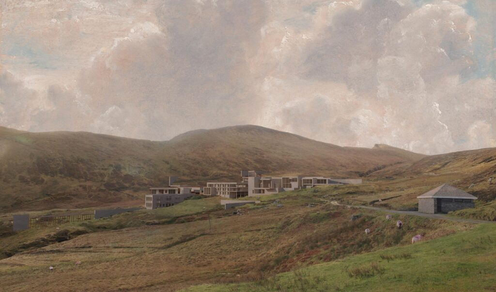 This 3D view highlights the proposed scheme within the surrounding landscape.