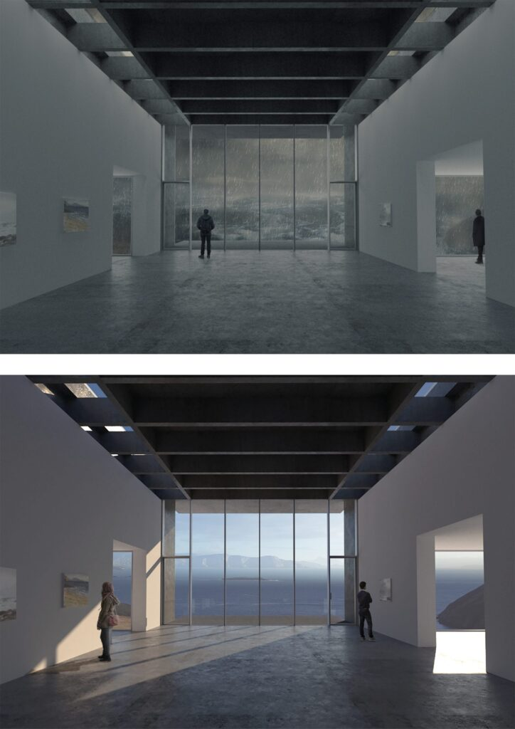 Here are atmospheric 3D views with the intention to highlight the art gallery and its atmosphere - both in a storm and on a bright misty morning.
