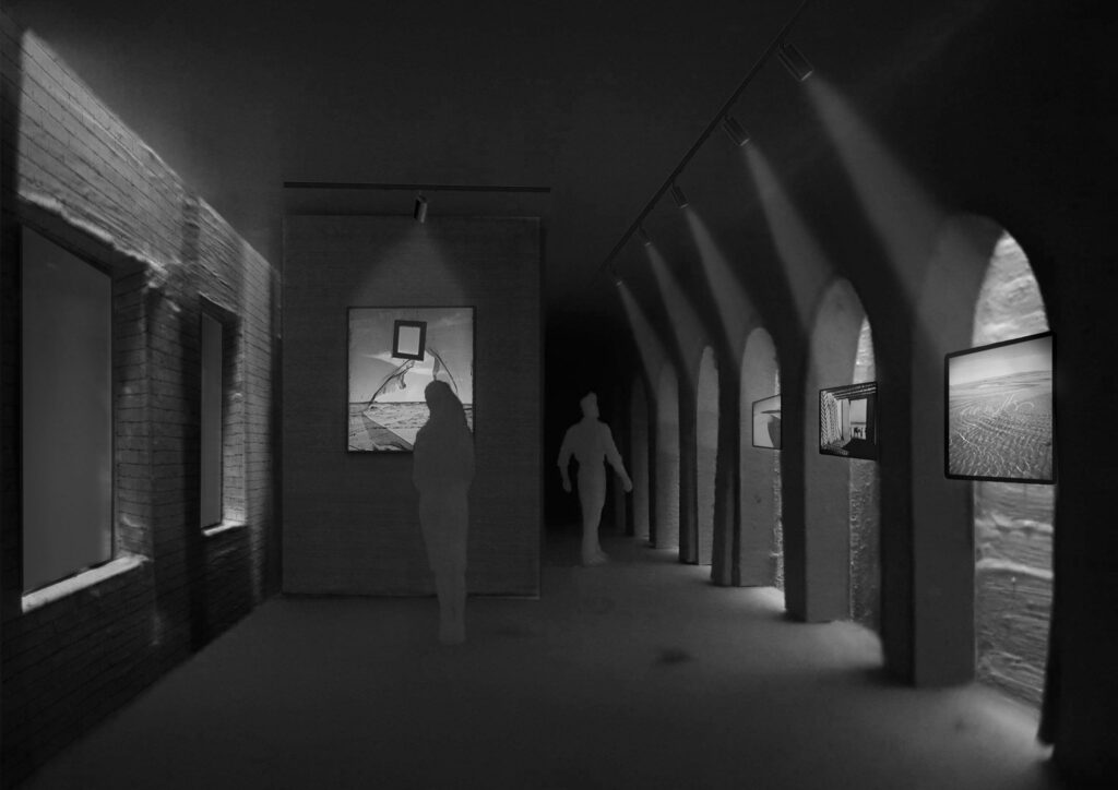 This 3D image forms a snapshot of a permanent exhibition within the building, showing lighting and shade within the space. This image has been produced by a physical model.