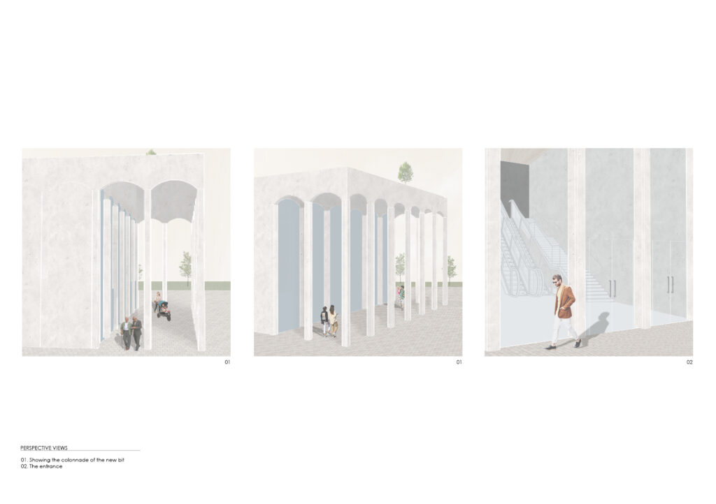 Perspective images of a the entrance to the theatre through a colonnade by Kalina Vrachanska