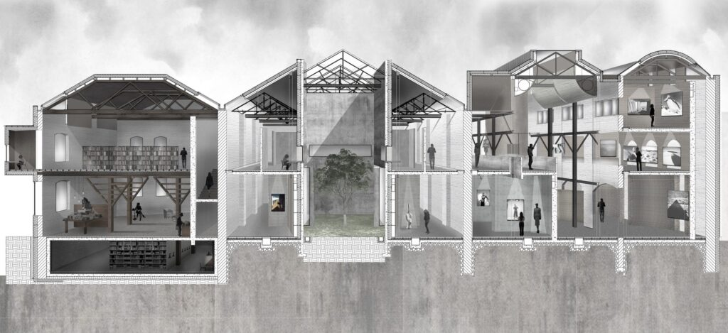 This perspective sections shows the scale of the existing building and the spaces designed within.