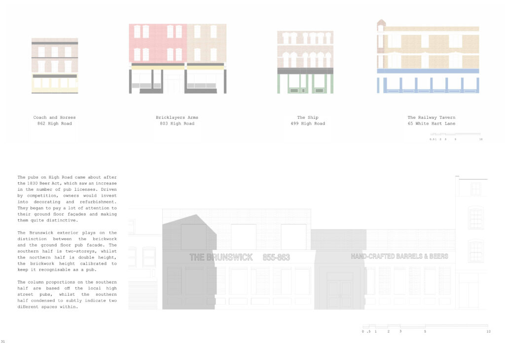 facade studies of local pubs illustrating colour variations and material usage