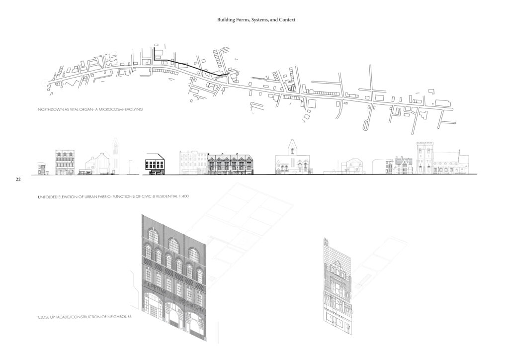 Site studies of northdown road, the street elevations, neighbouring facades